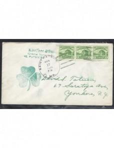 Carta Estados Unidos con marca Fiesta St. Patrick EEUU - 1931 a 1950.