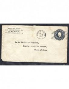 Sobre entero postal comercial Estados Unidos a Guinea Española EEUU - 1931 a 1950.