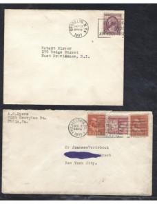 Dos cartas Estados Unidos matasellos rodillo especiales EEUU - 1931 a 1950.