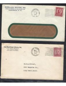 Tres cartas comerciales  Estados Unidos matasellos de rodillo EEUU - 1931 a 1950.
