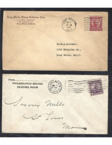 Cuatro cartas comerciales Estados Unidos matasellos de rodillo EEUU - 1931 a 1950.