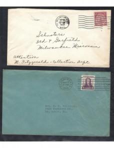 Cuatro cartas Estados Unidos matasellos de rodillo EEUU - 1931 a 1950.