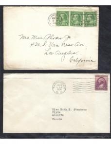 Tres cartas Estados Unidos matasellos de rodillo EEUU - 1931 a 1950.