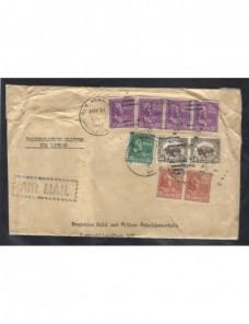 Carta correo aéreo Estados Unidos censura Alemania EEUU - 1931 a 1950.