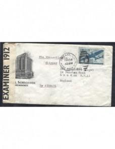 Carta aérea Estados Unidos censura Gran Bretaña EEUU - 1931 a 1950.