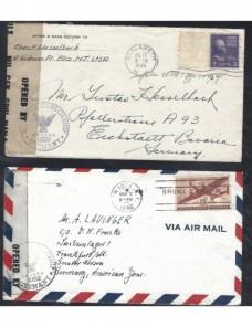 Dos cartas Estados Unidos censura militar Alemania bizona EEUU - 1931 a 1950.