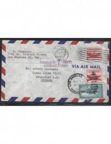 Carta aérea Estados Unidos marca de devolución  EEUU - Desde 1950.