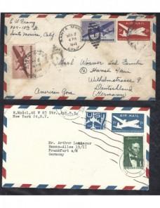 Dos sobres entero postales correo aéreo Estados Unidos EEUU - Desde 1950.