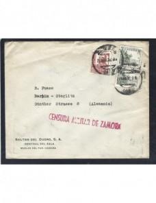 Carta Estado Español censura militar Zamora Guerra civil  Zona Nacional - Guerra Civil Española.