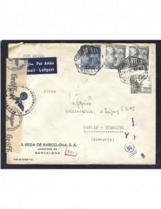 Carta aérea España doble censura España - 1931 a 1950.