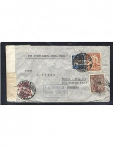 Carta aérea Colombia correo aéreo mancomún y doble censura militar  Otros Mundial - 1931 a 1950.