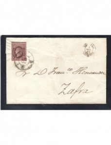 Carta España Isabel II Trujillo matasellos rueda de carreta España - Siglo XIX.