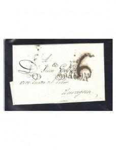 Prefilatelia España carta marca Aragón España - Siglo XIX.