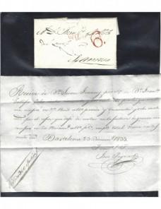 Prefilatelia España carta Barcelona marca Cataluña España - Siglo XIX.