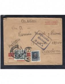 Carta aérea España Guerra Civil Estado Español Avila censura Zona Nacional - Guerra Civil Española.