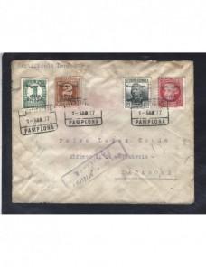 Carta certificada España Guerra Civil Estado Español Pamplona censura Zona Nacional - Guerra Civil Española.