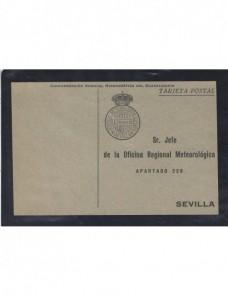 Tarjeta postal oficial España servicio meteorológico Sevilla España - 1931 a 1950.