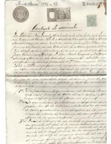 Filatelia fiscal contrato arrendamiento rústico papel timbrado  España - Siglo XIX.