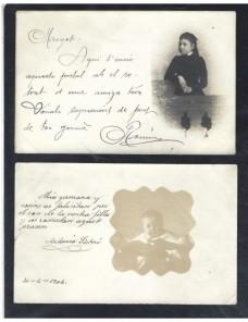 Dos tarjetas postales ilustradas España fotografías niños España - 1900 a 1930.