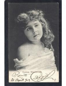 Tarjeta postal ilustrada España actriz Gudrun Hildebrand España - 1900 a 1930.