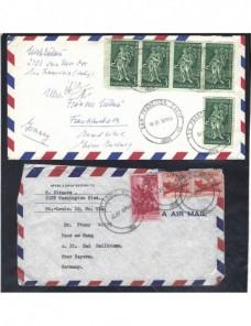 Dos cartas correo aéreo Estados Unidos EEUU - Desde 1950.