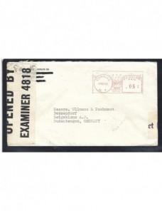 Carta de Estados Unidos doble censura II Guerra Mundial Bando Aliado - II Guerra Mundial.