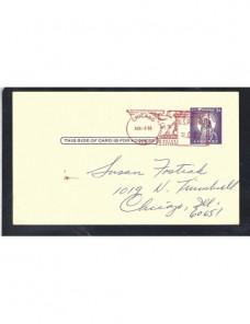 Tarjeta entero postal privada Estados Unidos franqueo mixto EEUU - Desde 1950.