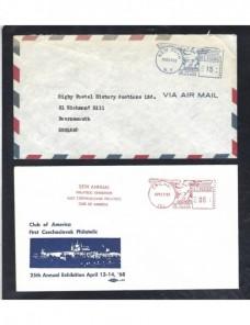 Cuatro cartas Estados Unidos con franqueos mecánicos EEUU - Desde 1950.