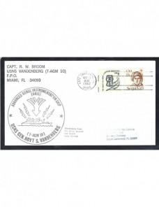 Lote temático. Tema espacio. Carta Estados Unidos con marca naval Otros elementos temáticos.