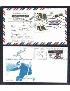 Lote temático. Tema Olimpiadas. Dos cartas Estados Unidos Sellos.