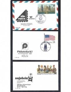 Tres tarjetas entero postales Estados Unidos exposiciones filatélicas EEUU - Desde 1950.