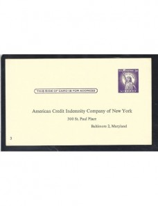 Tarjeta entero postal privada Estados Unidos  EEUU - Desde 1950.