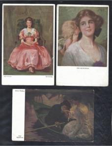 Tres tarjetas postales ilustradas Alemania pintura  Alemania - 1900 a 1930.