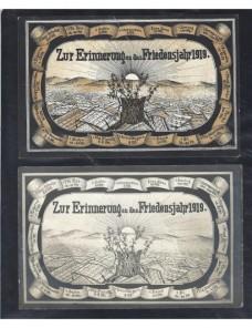 Dos tarjetas postales ilustradas Alemania conmemoración año 1919 Alemania - 1900 a 1930.