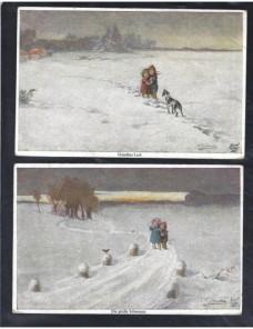 Dos tarjetas postales ilustradas Alemania pintura niños en la nieve Alemania - 1900 a 1930.