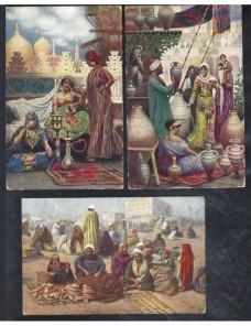 Tres tarjetas postales ilustradas Marruecos escenas populares Otros Mundial - 1900 a 1930.