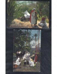 Dos tarjetas postales ilustradas Marruecos escenas oasis Otros Mundial - 1900 a 1930.