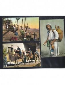 Tres tarjetas postales ilustradas Egipto escenas populares Otros Mundial - 1900 a 1930.
