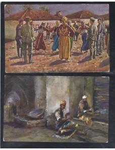 Dos tarjetas postales ilustradas Turquía escenas folkloricas Otros Mundial - 1900 a 1930.