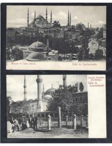 Dos tarjetas postales ilustradas Turquía Constantinopla Otros Mundial - 1900 a 1930.