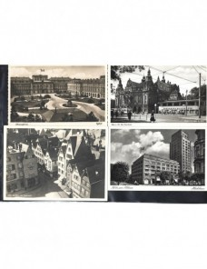 Cuatro tarjetas postales ilustradas Alemania III Reich imágenes urbanas Alemania - 1931 a 1950.