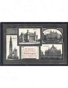 Tarjeta postal ilustrada Alemania conmemoración toma de Amberes Imperios Centrales - I Guerra Mundial.