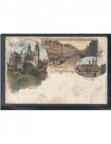 Tarjeta postal ilustrada Alemania Magdeburgo Alemania - Siglo XIX.