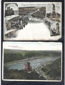 Dos tarjetas postales ilustradas Alemania paisajes fluviales Alemania - 1900 a 1930.