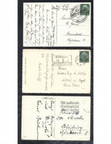 Tres tarjetas postales ilustradas Alemania matasellos especiales Alemania - 1931 a 1950.