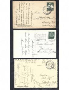 Tres tarjetas postales ilustradas Alemania III Reich Nuremberg Alemania - 1931 a 1950.