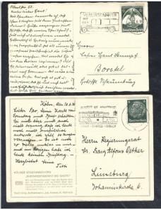 Lote temático. Tema autobuses. Dos tarjetas postales Alemania matasellos Matasellos y franqueos mecánicos.
