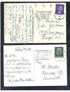 Lote temático. Tema telecomunicaciones. Dos tarjetas postales Alemania matasellos Matasellos y franqueos mecánicos.