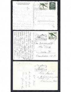 Lote temático. Tema Olimpiadas de invierno. Tres tarjetas postales Alemania Matasellos y franqueos mecánicos.