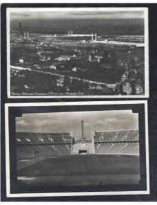 Lote temático. Tema Juegos Olímpicos. Cuatro tarjetas postales Alemania Matasellos y franqueos mecánicos.